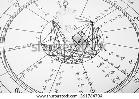 Crystal pendulum with zodiac wheel for astrology - stock photo