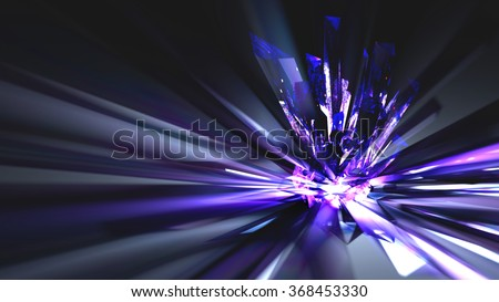Crystal Refraction Abstract Background Abstract refraction's and light from a crystal cluster. Background.  3d render, models by the artist.  - stock photo