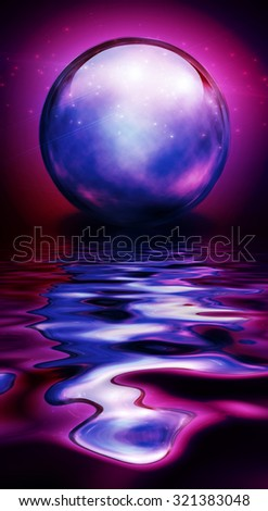 Crystal Sphere in vivid hues and reflections - stock photo