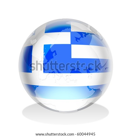Crystal sphere of Greek flag with world map - stock photo