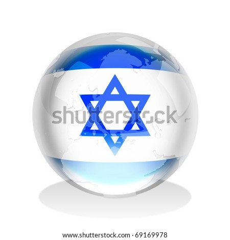 Crystal sphere of Israel flag with world map - stock photo