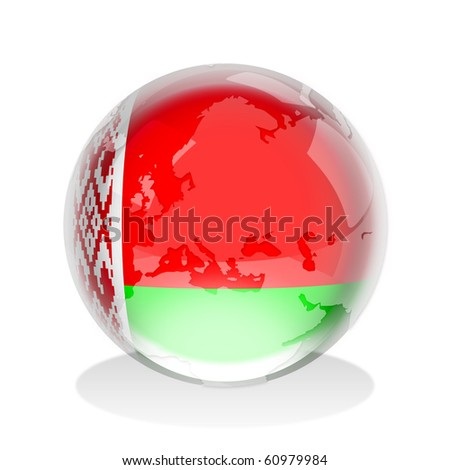 Crystal sphere of the flag of The Republic of Belarus with world map