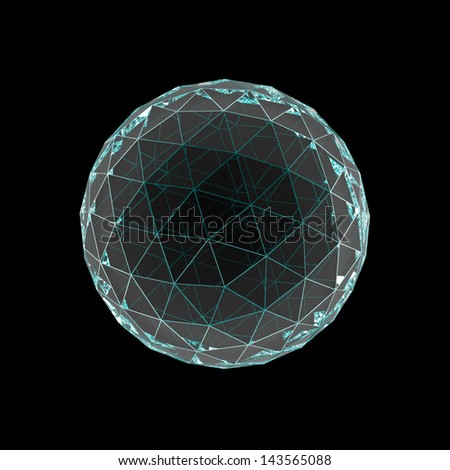 crystal sphere with colored faces isolated on black