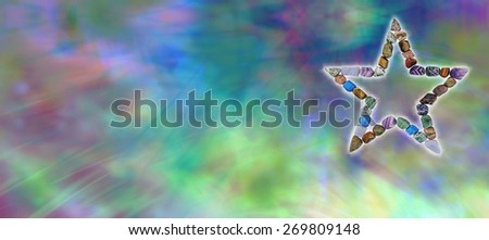 Crystal Star Healing Website Banner - Wide multicolored watercolor effect banner with a star shaped from tumbled semi-precious crystals on the right side and plenty of copy space on the left side - stock photo