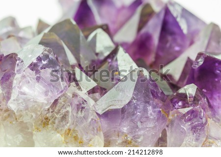 Crystal Stone, purple rough amethyst crystals on texture background.  - stock photo
