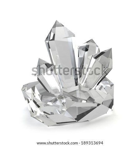 Crystal stones. 3d image isolated on white background