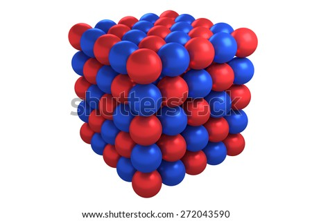 Crystal structure of chemical compound with 1:1 ratio of elements - stock photo