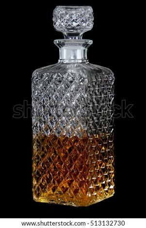crystal whisky decanter isolated on a black background - Whisky Decanter