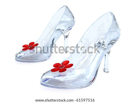 Crystal women's shoes with high heels and red flowers on white background. High resolution 3D image - stock photo