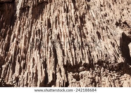 crystalline salt - seen in Valle de la Luna in Atacama desert in Chile - stock photo