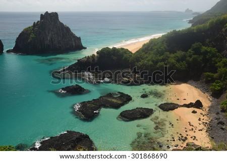 Crystalline sea beach in Fernando de Noronha,Brazil - stock photo