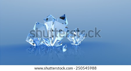 Crystals background 1 Three-dimensional image of crystals crystal. Transparent stone, mineral. - stock photo