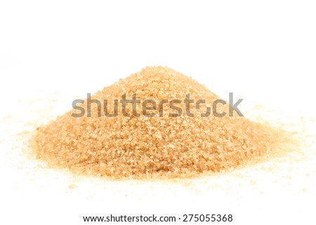 Crystals cane brown sugar isolated on white background - stock photo