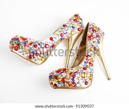 Crystals Encrusted Golden Heels - stock photo