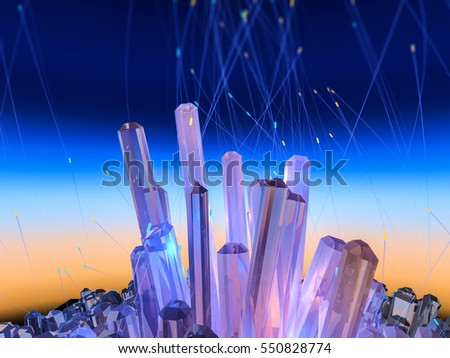 Crystals on abstract color sky. 3D illustration.