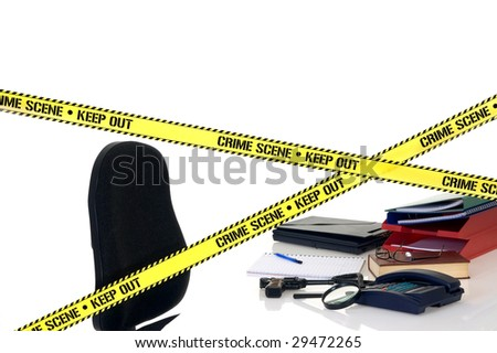 CSI crime scene with weapon in foreground, white background, studio shot. - stock photo