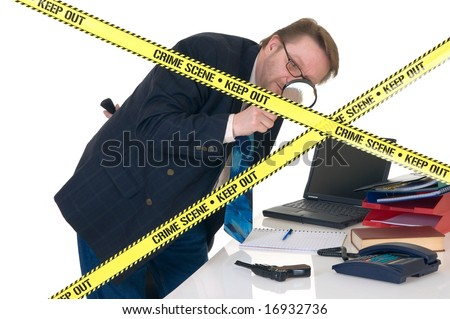 CSI investigator researching office crime scene, taking fingerprints, weapon in foreground, white background, studio shot. - stock photo