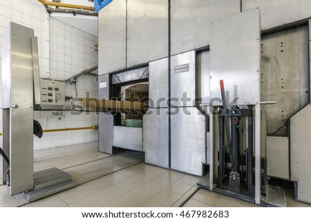 CSOMOR, HUNGARY - May 21., 2016.: Interior of Crematorium in Csomor near Budapest. Opened in 2002, it is the largest crematorium in Hungary.