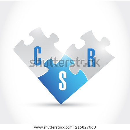 csr puzzle pieces illustration design over a white background - stock photo