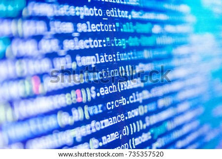 CSS, JavaScript and HTML usage. Innovative startup project. Source code close-up. Desktop PC monitor photo. Big data storage and cloud computing representation. Programming of Internet website.