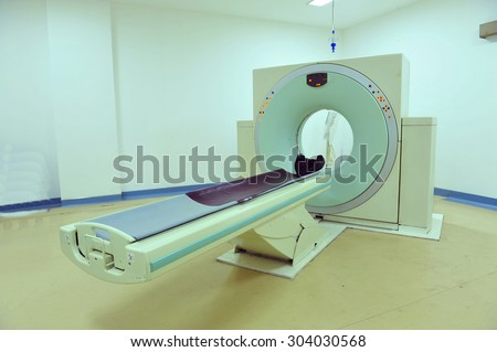 CT (computed tomography) scanner in the hospital lab - stock photo