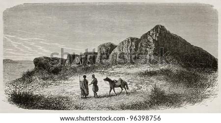 Ctesiphon old view, Iraq. Created by De Bar after Lejean, published on Le Tour du Monde, Paris, 1867 - stock photo