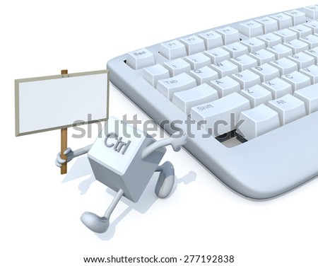 ctrl key with banner run away from a keyboard. 3d illustration