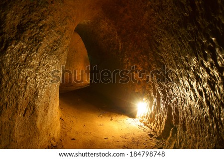 Cu Chi tunnel, historic famous place in Vietnam war, army dig underground dug out to living, now it's heritage destination for Viet Nam travel in Ho Chi Minh city - stock photo