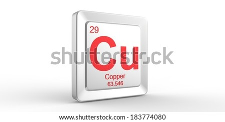 Cu symbol 29 material for Copper chemical element of the periodic table - stock photo