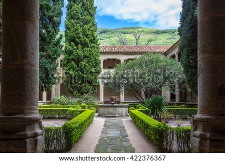 CUACOS DE YUSTE, SPAIN - MAY 14 2016: Cloister of the Monastery of Yuste, Extremadura, Spain. In 1556 Charles V, Holy Roman Emperor retired to the Monastery of Yuste.