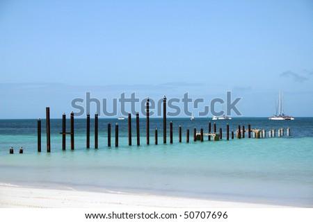 Cuba beach view in a small island near Varadero. - stock photo