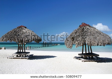 Cuba beach with summer house view in small island near varadero. - stock photo