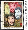 "CUBA - CIRCA 1977: A postage stamp printed by CUBA shows image portrait of Argentine Marxist, a major figure of the Cuban Revolution Ernesto ""Che"" Guevara, circa 1977. - stock photo"