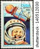 CUBA - CIRCA 1986: A postage stamp printed by CUBA shows  image portrait of famous Soviet pilot and cosmonaut Yuri Gagarin, circa 1986. - stock photo