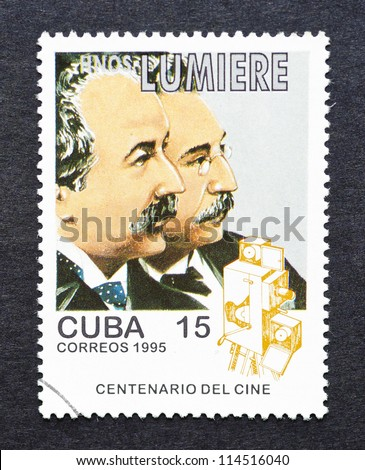 CUBA - CIRCA 1995: a postage stamp printed in Cuba showing an image of  Lumiere brothers, circa 1995. - stock photo