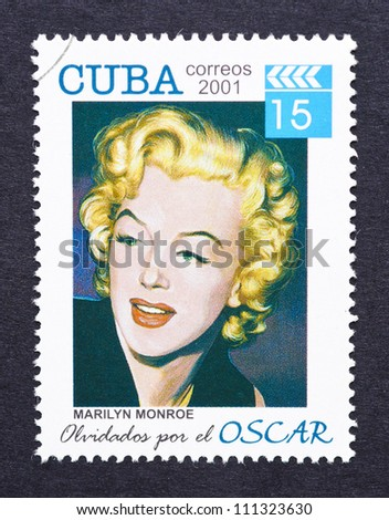 CUBA - CIRCA 2001: a postage stamp printed in Cuba showing an image of Marilyn Monroe, circa 2001. - stock photo