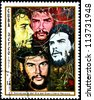 CUBA - CIRCA 1977: A Postage Stamp Shows Image Ernesto Che Guevara and Dedicated to the 10th Anniversary of the Day of the Heroic Guerrilla, circa 1977 - stock photo