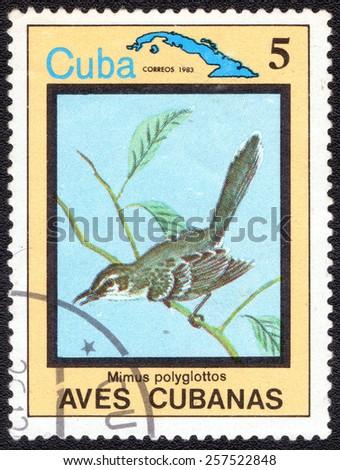 """CUBA - CIRCA 1983:A postage stamp shows Mimus polyglottos, from series """"Cuban Birds"""", circa 1983 - stock photo"""