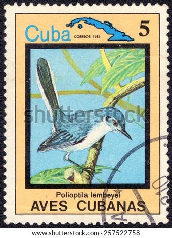 "CUBA - CIRCA 1983:A postage stamp shows Polioptila lembeyei, from series ""Cuban Birds"", circa 1983 - stock photo"
