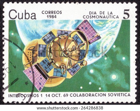 "CUBA - CIRCA 1984: A Postage Stamp Shows the series of images ""Spacecraft and rockets"", circa 1984 - stock photo"