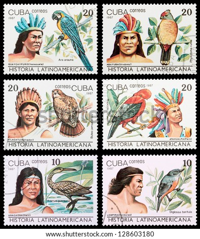 CUBA - CIRCA 1987: A set of postage stamps printed in CUBA shows Hispanic history, series, circa 1987 - stock photo