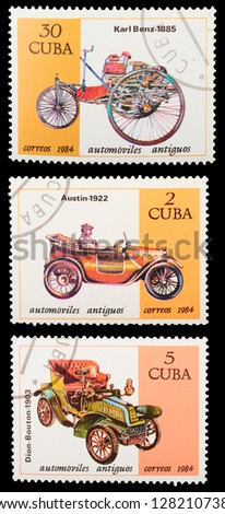 CUBA - CIRCA 1984: A set of postage stamps printed in CUBA shows historic cars, series, circa 1984 - stock photo