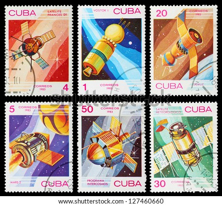 CUBA - CIRCA 1983: A set of postage stamps printed in CUBA shows spaceships, series, circa 1983