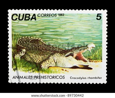 "CUBA - CIRCA 1982: a stamp printed by CUBA shows  a Crocodile with the designation ""Geocapromys colombianus"", series ""Prehistoric Fauna"", circa 1982"