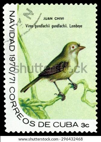 CUBA - CIRCA 1970: A stamp printed by Cuba, shows  bird  Cuban vireo, Vireo gundlachii , circa 1970  - stock photo