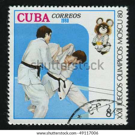CUBA - CIRCA 1980: A  stamp printed by Cuba,  shows competition on judo, circa 1980.
