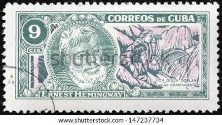 "CUBA - CIRCA 1963: A stamp printed by CUBA shows image portrait of Nobel Prize-winner for Literature famous American writer Ernest Hemingway (1899-1961), ""For Whom the Bell Tolls"", circa 1963 - stock photo"