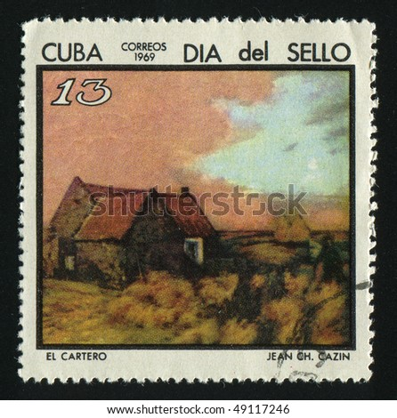CUBA - CIRCA 1969: A  stamp printed by Cuba,  shows Postman by Jean C. Cazin, circa 1969.