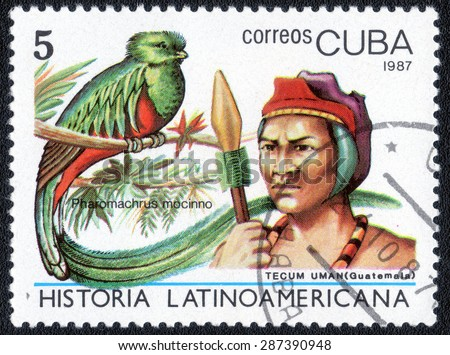 "CUBA - CIRCA 1987: A stamp printed by Cuba, shows shows a series of images of ""The History of Latin American peoples"" , circa 1987"