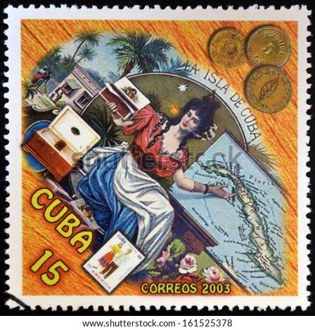 CUBA - CIRCA 2003: A stamp printed in cuba dedicated to Cuban cigars, shows a woman offering snuff, circa 2003    - stock photo